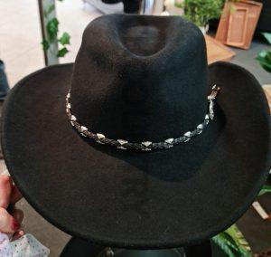 black western style felt hat with braided hat band silver buckle 9cm crown 9 cm brim