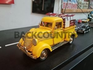36 yellow ford pick up truckmetal model truck wood look side