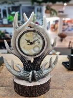 clock with resin antlers