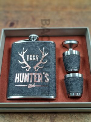 hip flack with antlers and hunters decal on also two shot cups with funnel